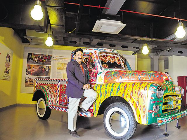 Tarun Thakral, who is the chief operating officer of Hotel Le Meriden in New Delhi, with a 1952 Dodge pickup truck.