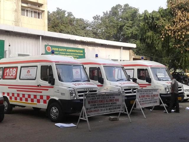 The 108 emergency service ambulances stationed at the GMSH, Sector 16, Chandigarh. The system is functional in over 15 states and two UTs, but not in Chandigarh.