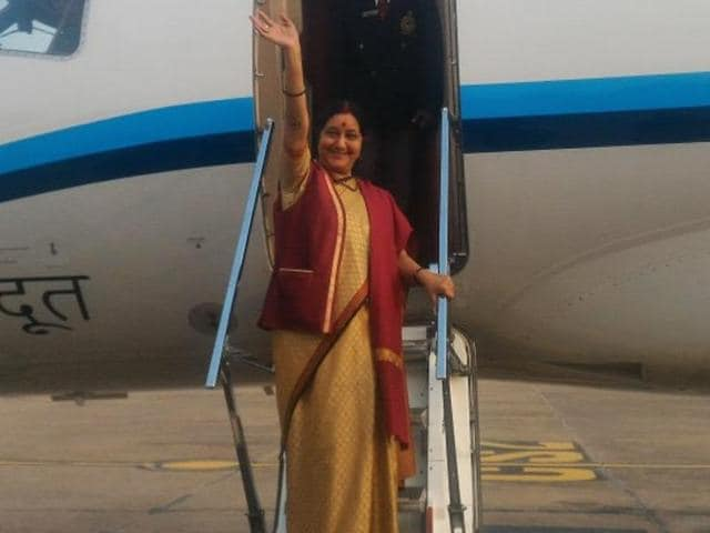 Foreign minister Sushma Swaraj before leaving for Islamabad on Tuesday.