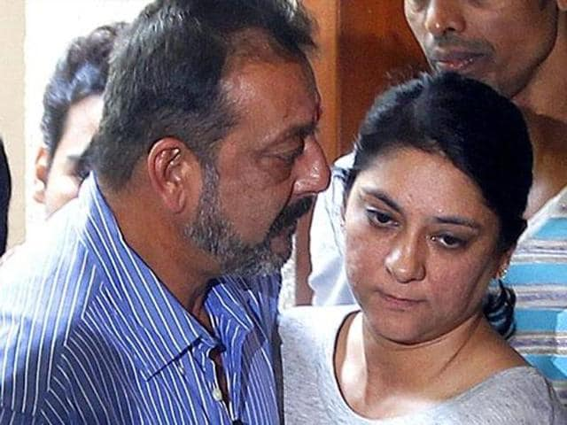 Sanjay Dutt with sister Priya Dutt as he heads off for Yerawada jail.