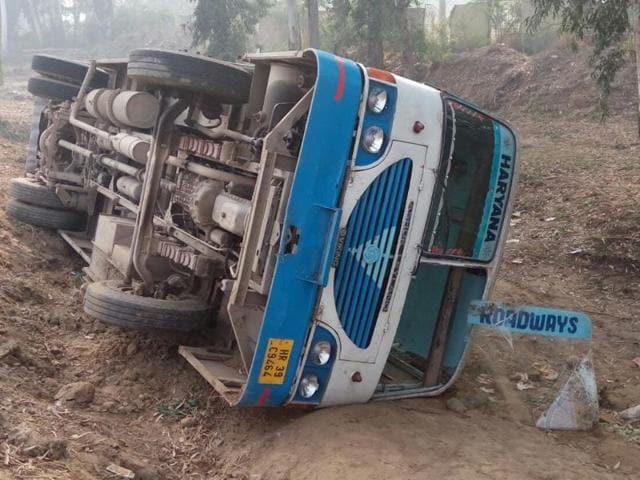 Haryana Roadways,Bus overturns,14 injured