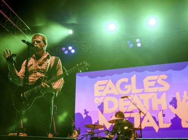 Eagles of Death Metal made an emotional return to the stage in the French capital on Monday night alongside U2.