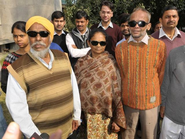 Patients who had lost their visions after undergoing through eye cataract surgery at a hospital in Ambala.