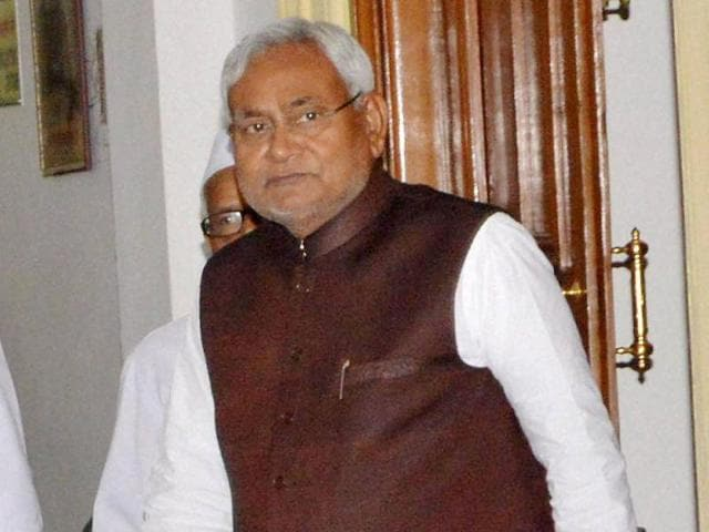 Bihar chief minister Nitish Kumar arrives to attend the cabinet meeting in Patna.