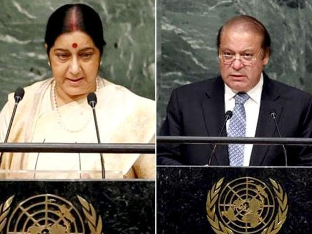 Combination photo of external affairs minister Sushma Swaraj and Pakistan Prime Minister Nawaz Sharif at the UN.