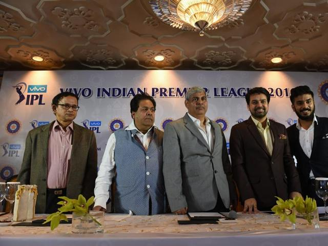 Shashank Manohar (C), head of the Board of Control for Cricket in India (BCCI), BCCI honorary secretary Anurag Thakur (2nd R), Indian Premier League chairman Rajeev Shukla (2nd L), Rajkot IPL team owner Keshav Bansal (R) and Subhashish Mitra (L), executive director of New Rising of the IPL team Pune, attend a press conference in New Delhi.