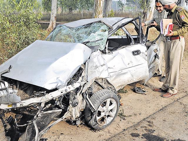 Condition of car in which the engineering students were travelling after it collided with chief engineer Mukesh Anand's vehicle on National Highway-21 near Gharuan in SAS Nagar on Tuesday.