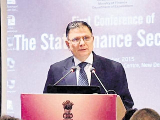 Union finance secretary Ratan P Watal addresses the first conference of state finance secretaries in New Delhi on Tuesday.