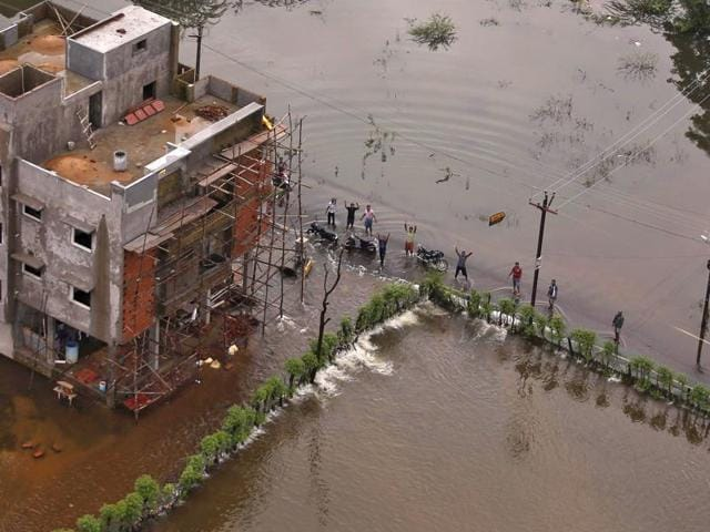A flood-affected area in Chennai. The boy of a person suspected to have died in the heavy rains inChennai has been found washed up onshore inSri Lanka.