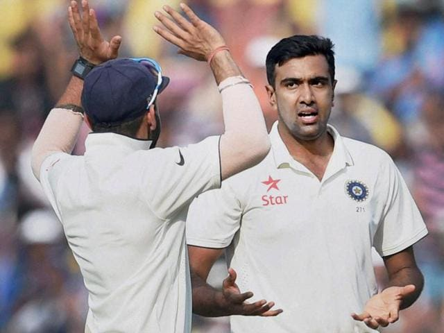 Indian cricketer Ravichandran Ashwin after receiving Man of the Series trophy after winning test match against South Africa at Ferozshah Kotla Stadium in New Delhi on December 7, 2015.