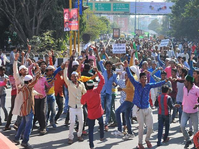 Muslims protest at Regal Square in Indore on Tuesday.