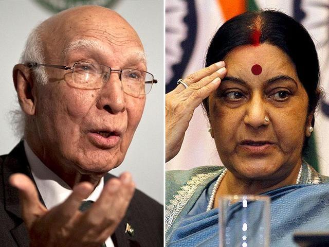 A combination photo external affairs minister Sushma Swaraj and Pakistan National Security Advisor Sartaj Aziz.