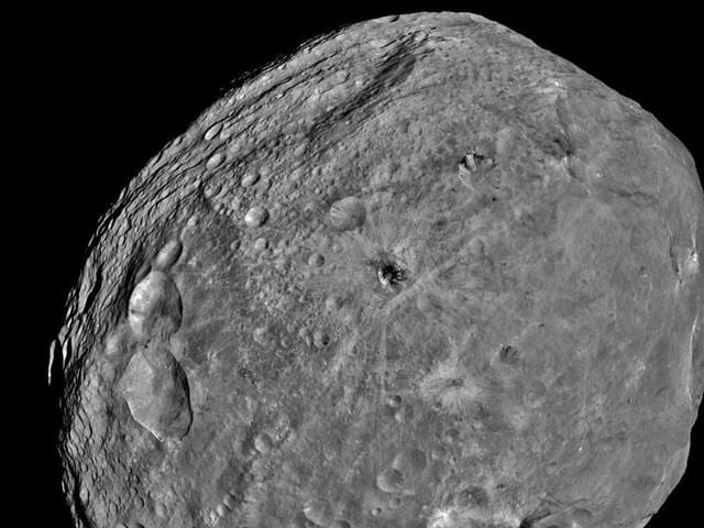 In this July 24, 2011 file image provided by NASA, obtained by the Dawn spacecraft, shows the giant asteroid Vesta.