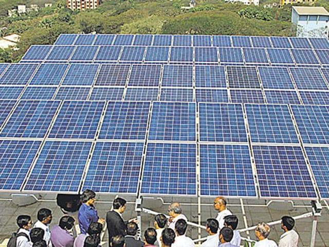 Solar power is expected to be among the biggest contributors to enhanced green power in India.(Praful Gangurde/HT File Photo)