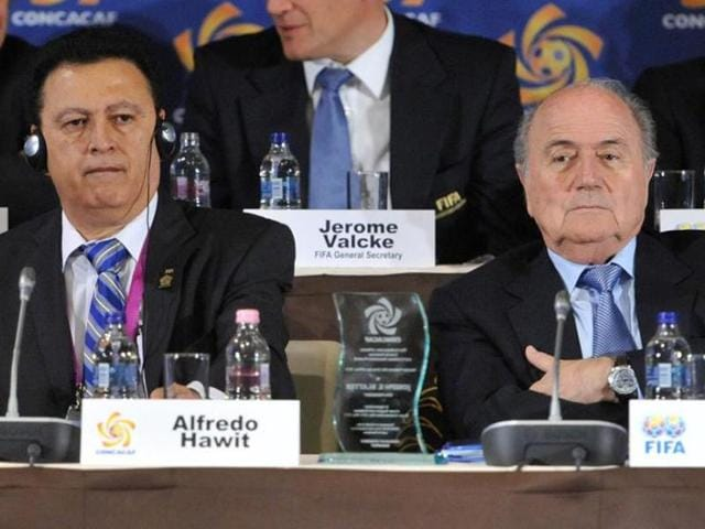 A file photo of Alfredo Hawit of Honduras, former Head of CONCACAF and FIFA President Joseph Blatter.