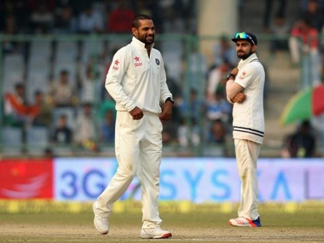 India's Shikhar Dhawan in action against South Africa in the 4th Test match in New Delhi.