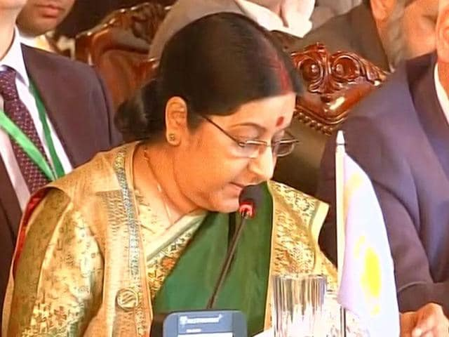 External affairs minister Sushma Swaraj speaks during the Heart of Asia conference in Islamabad, Pakistan.
