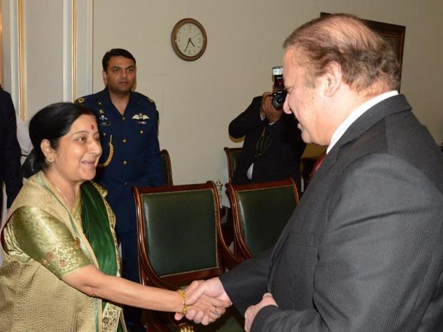 Foreign minister Sushma Swaraj called on Pakistan Prime Minister Nawaz Sharif on the sidelines of the Heart of Asia Conference in Islamabad.