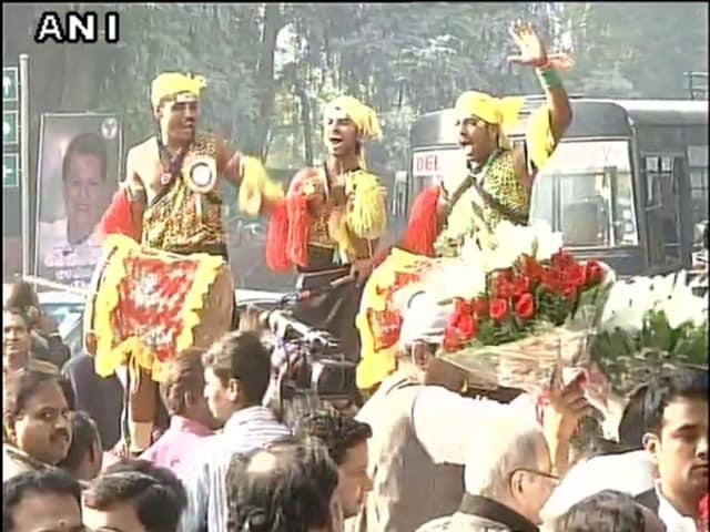 Celebrations outside Congress president Sonia Gandhi's residence in Delhi, on her Birthday.
