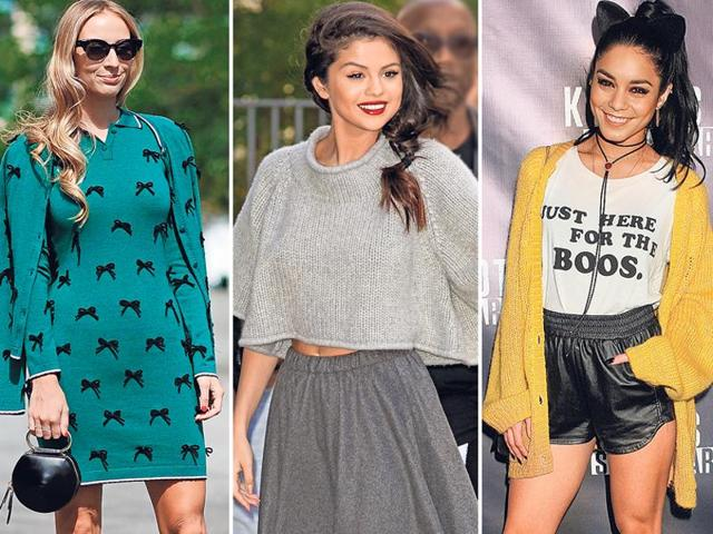 From left: Popular New York-based fashion blogger Charlotte Groeneveld bundles up in style in a long sweater with a flow-y skirt and stilettoes; If you don't want to wear a cardigan, you can just throw one on your shoulders like French fashion entrepreneur Carol Cassou; Hollywood actor Amanda Seyfried gets her fashion game up with a long sweater and leggings; French model Marie Ange Casta shows how leather can work with a short sweater. In Mumbai, one can swap real leather with faux leather.