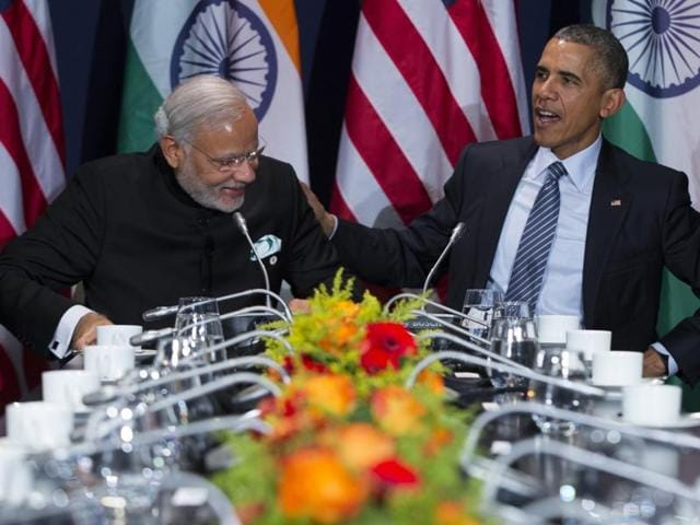 US President Barack Obama, right, meets with Prime Minister Narendra Modi during the COP21, United Nations Climate Change Conference, in Le Bourget, outside Paris.(AP Photo)