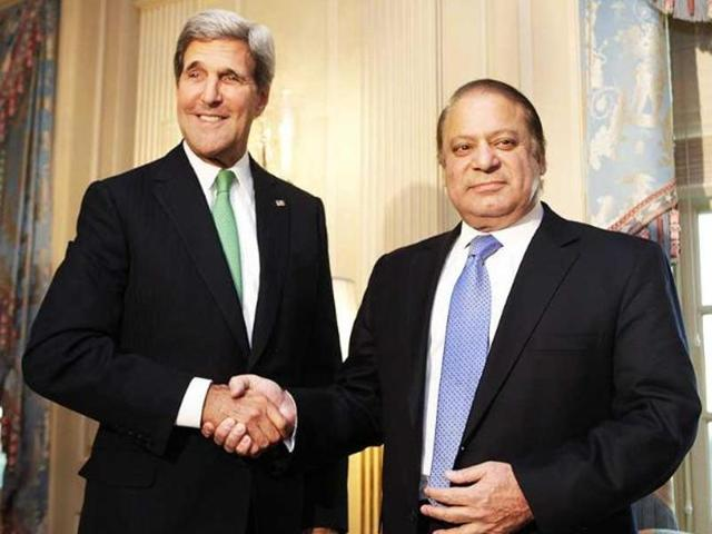 US secretary of state John Kerry shakes hands with Pakistan's Prime Minister Nawaz Sharif before their meeting at the State Department in Washington.
