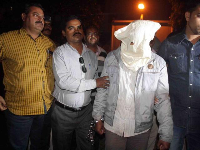 Accused Mahesh Bairagi at police control room in Indore on Wednesday.