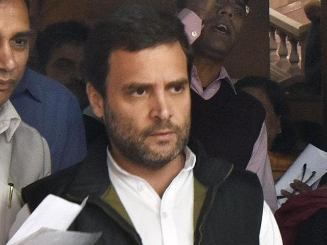 Congress vice-president Rahul Gandhi outside Parliament in New Delhi on Wednesday.