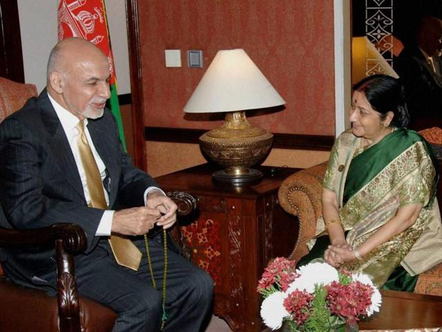 External affairs minister Sushma Sawraj with Afghan President Mohammad Ashraf Ghani during her two-day visit to Pakistan for the Heart of Asia meeting, in Islamabad.