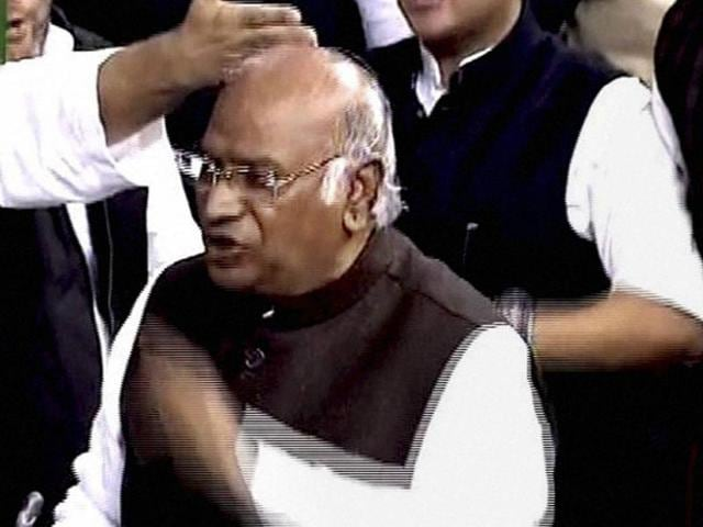 Leader of the Congress in the Lok Sabha Mallikarjun Kharge during ongoing winter session of the Parliament in New Delhi.