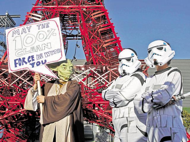 Activists from the Avaaz NGO are dressed as Star Wars stormtroopers at a demonstration during the world climate change conference 2015 (COP21) in Le Bourget, near Paris, France. 196 countries failed to arrive at a consensus on tricky aspects of the deal.