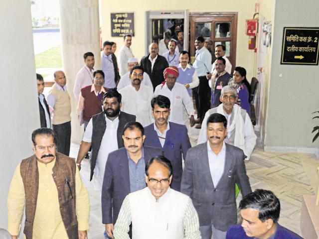 CM Shivraj Singh Chouhan comes out of the Vidhan Sabha in Bhopal on Tuesday.