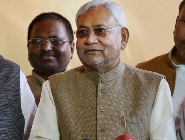 Bihar chief minister Nitish Kumar interacts with the media at Parliament, in New Delhi.