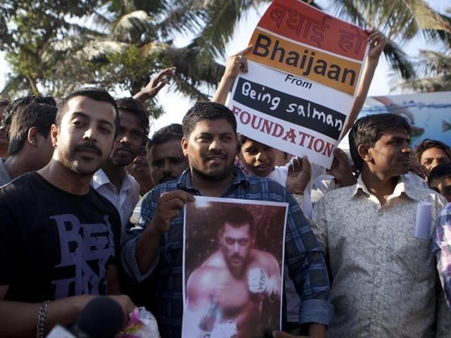 Fans outside actor Salman Khan's residence in Mumbai on Thursday.