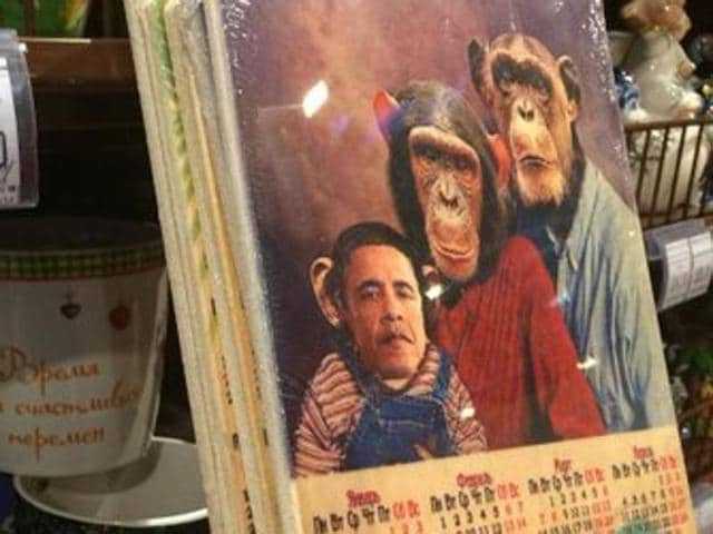 A Russian supermarket chain apologised for selling chopping boards and calenders with US President Barack Obama's face on a monkey.