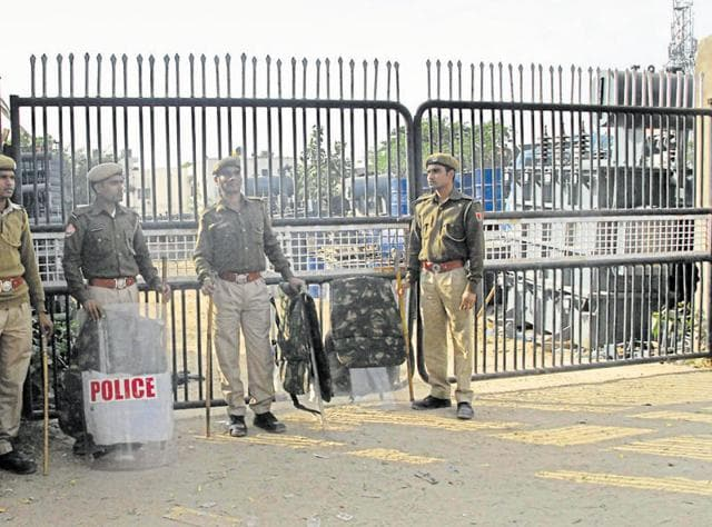 Police personnel guard the Chambal Power house in Jaipur on Wednesday.