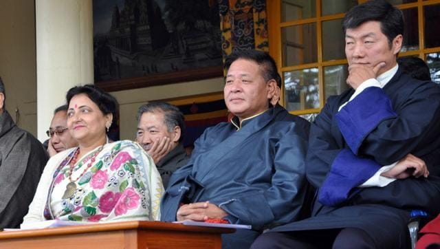 Former minister and MLA Sarween Chaudhary, speaker of Tibetan Parliament-in-exile, Pempa Tsering and  Tibetan Prime minister-in-exile Lobsang Sangay during the function organised to celebrate 26th anniversary of conferment of Nobel Peace Prize to Tibetan Spiritual leader the Dalai Lama, at Tsuglakhang Temple in McleodGanj on Thursday.