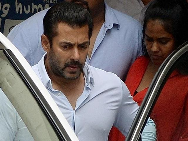 A file photo of Salman Khan as he leaves his home to appear at a Sessions Court in Mumbai.