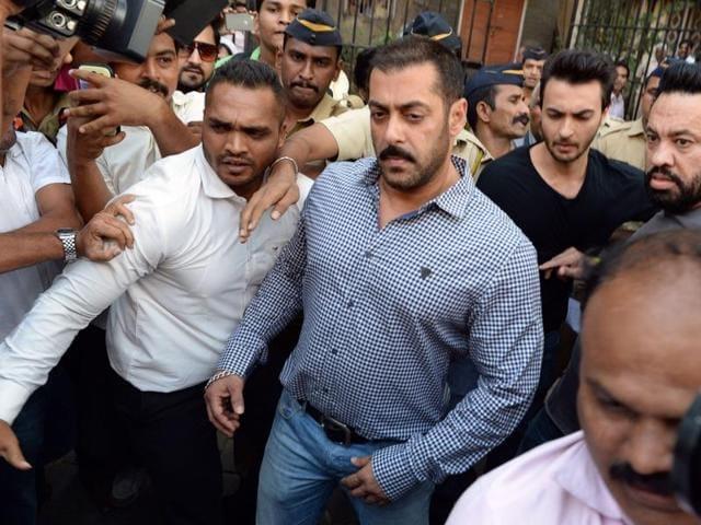 Bollywood actor Salman Khan walks out of the Bombay high court on Thursday.(AFP Photo)