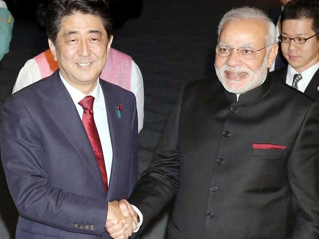 Prime Minister Narendra Modi with his Japanese counterpart Shinzo Abe. The Allahabad high court granted permission for installation of a music system at Dashashwamedh Ghat in Varanasi where the two prime ministers will be visiting on Saturday.