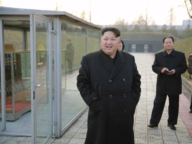 North Korean leader Kim Jong Un (front) visits the Phyongchon Revolutionary Site, in this undated photo released by North Korea's Korean Central News Agency (KCNA) in Pyongyang