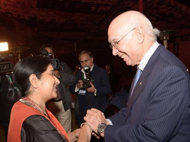 External affairs minister Sushma Swaraj with Sartaj Aziz in Islamabad. This is the first time that New Delhi has agreed on a full-scope dialogue with Islamabad since the Mumbai attacks in 2008.