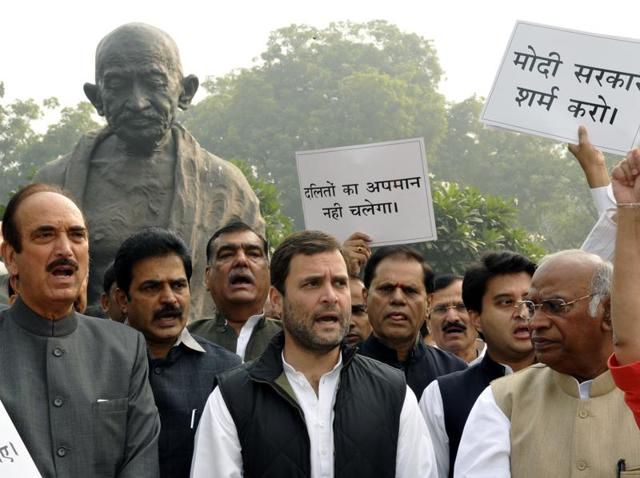Congress MPs, led by Rahul Gandhi, staged a protest outside the Parliament House in New Delhi.