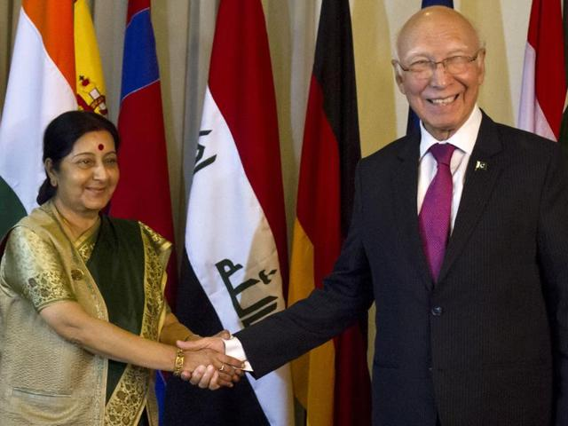 External affairs minister Sushma Swaraj with Pakistan's foreign affairs adviser Sartaj Aziz during a meeting in Islamabad on Wednesday.