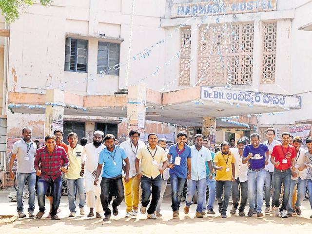 The situation at the university is tense with Bajrang Dal and Hindu Dharma Seva activists gathered outside. A 'curfew-like' situation prevailed with heavy deployment of police forces in and around the OU campus. )(PTI)