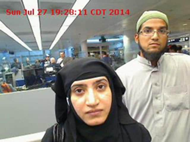A file photo of Tashfeen Malik, left, and Syed Farook. The two shooters had been radicalised before they had even met, according to the FBI.
