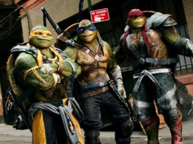 Donatello, Michelangelo, Leonardo and Raphael in Teenage Mutant Ninja Turtles: Out of the Shadows.