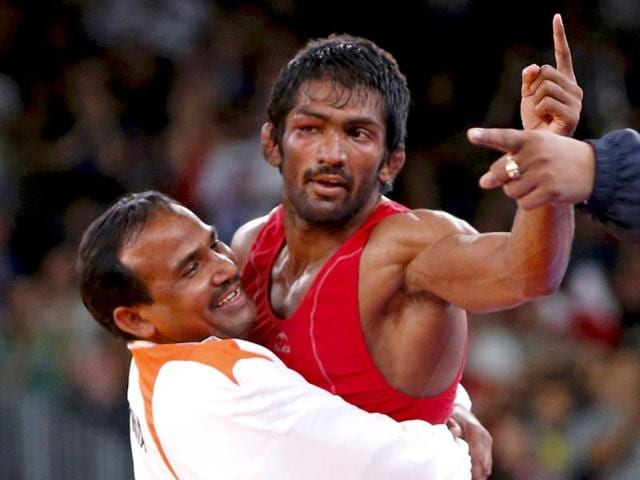 Yogeshwar Dutt reacts after winning the bronze medal in the Men-s 60kg Freestyle wrestling at the 2012 Olympic Games in London.