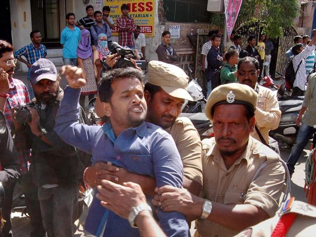 Police detaining an Osmania University student who was allegedly trying to organise beef festival in Hyderabad on Thursday.