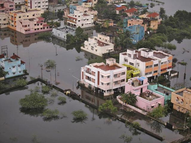 An aerial view shows a flooded residential colony in Chennai. Southern India could continue to experience higher than normal rainfall and this could cause further flooding due to El Nino.